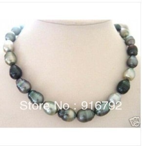 free shipping *******Beautiful Baroque black grey pearl necklace 18''(China (Mainland))