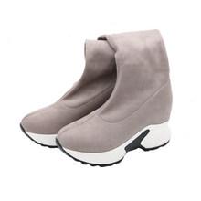 ESVEVA 2020 Über Das Knie Stiefel Winter Frauen Stiefel Keil Hohe Ferse Slip Auf Elastische Flock Motorrad Stiefel Plattform Größe 34-43(China)