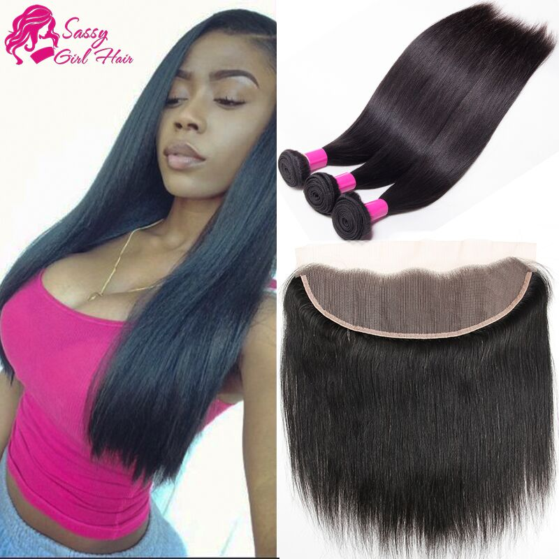 Queen Brazilian Straight Hair With Closure Brazilian Hair Weave Bundles With Closure Full Frontal Lace Closure 13x4 With Bundles<br><br>Aliexpress