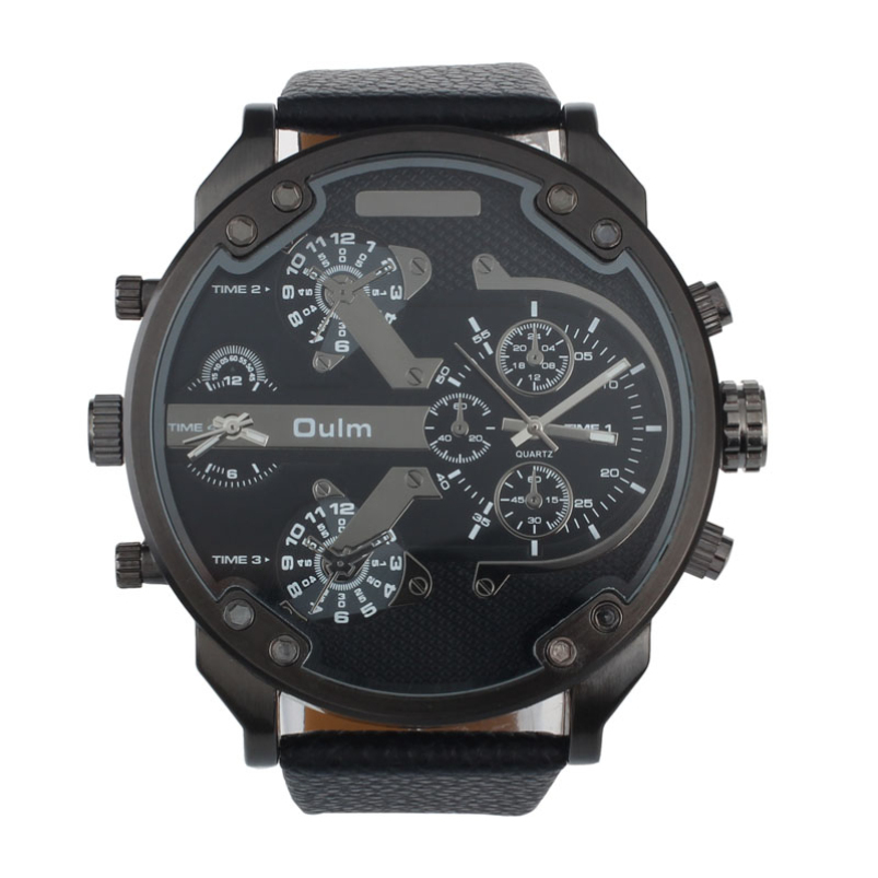 SPlendid Sports Luxury Golf Military Army Dual Time Quartz Large Dial Wrist Watch Oulm Mechanical Designer