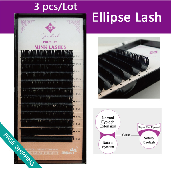 Ellipse Flat False Eyelash Extensions Soft Thin Tip Flat Roots New Products Saving Time Recomended by Technicians
