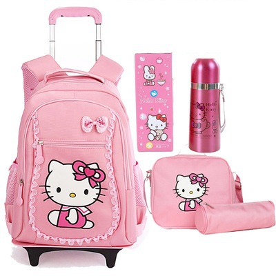 Free Shipping Hello Kitty Children School Bags Mochilas Kids Backpacks With Wheel Trolley Luggage For Girls backpack wholesale(China (Mainland))