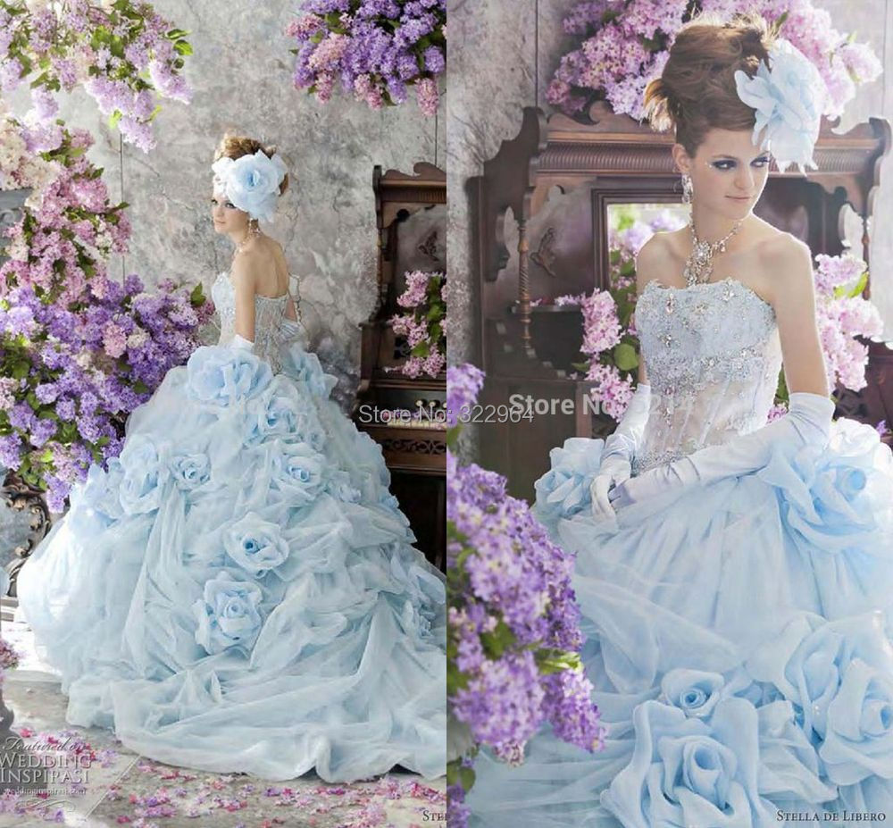 Sky blue wedding gowns images for Sky blue wedding guest dresses
