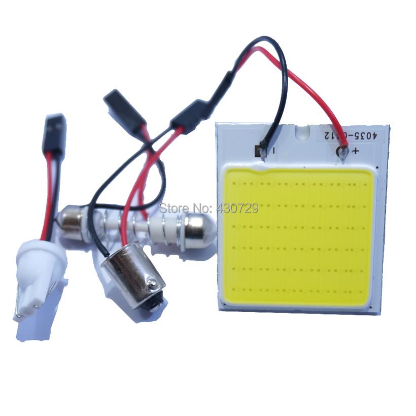 oneXWhite COB 48SMD Chip LED Car Interior Light T10 Festoon BA9S Dome Adapter DC12V Car Vehicle LED Panel(China (Mainland))
