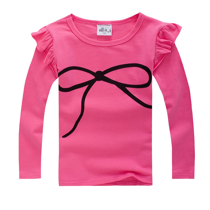 2015 spring Autumn children s long sleeve T shirt elasticcandy colors girls t shirts kids tops