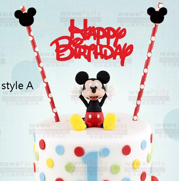 Mickey Mouse design Happy Birthday Cake Topper Set for Kids Happy Birthday Party Decoration Supplies Baby Shower Party Deco(China (Mainland))