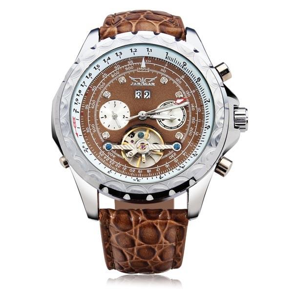 Jaragar бренд класса люкс календарь автоматическая механическая турбийон Lether мужские наручные часы мужские часы 2016 New бесплатная доставка