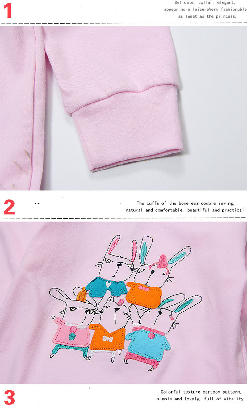 2017 Cute Rabbit Kids Clothes Children Girls Cotton Spring T-Shirts Baby Girl Long Sleeve T-shirt Tees Top Clothing  Costumes
