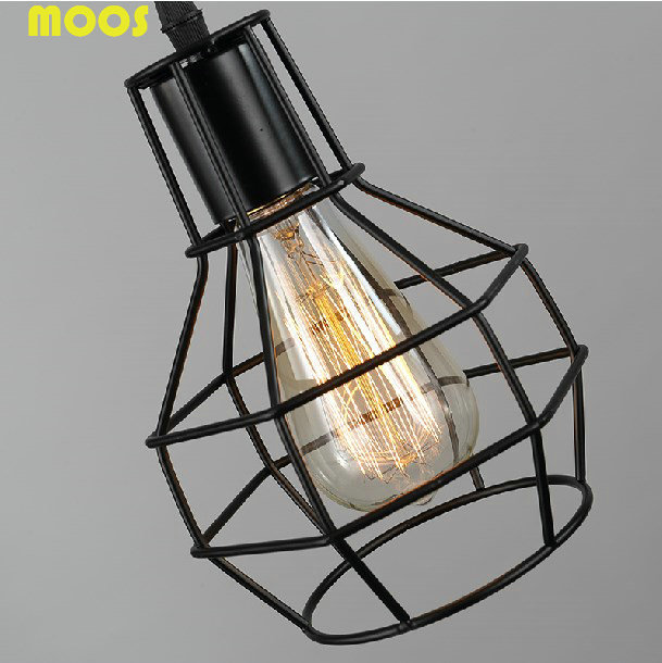 Free shipping vintage wrought iron cage lamp wire e27 for Suspension luminaire cage