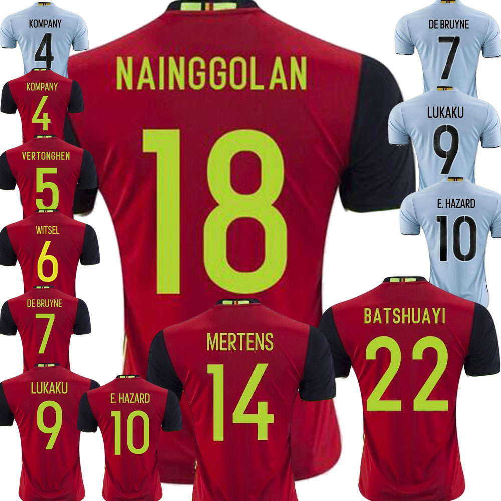 lukaku jersey soccer thailand quality 2016 maillot de foot italie 2017 soccer jerseys belgium 2016 eden hazard jersey custom(China (Mainland))
