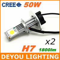 2pcs/lot  CREE 3600lm 50w H7 LED car head Light bulb Xenon white 6000K 12V 24V car Headlight Kit 18months warranty