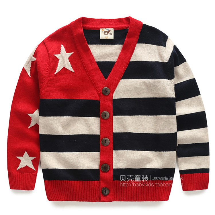 2015 spring and autumn five-pointed star baby boys striped knit cardigan little boys casual sweaters boys coats A2289(China (Mainland))