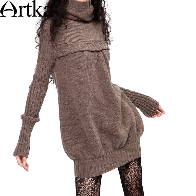 Artka Women'S Autumn Winter Vintage Turtleneck Full Sleeve Cocoon Shape Solid Plain Rib Knitting Sweater Dress LB15635D(China (Mainland))