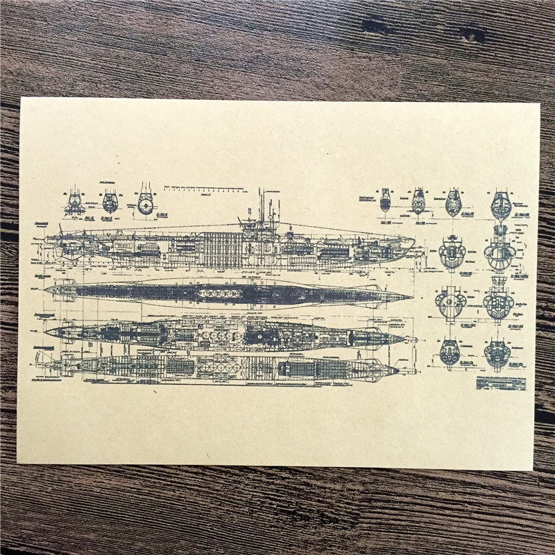 """RZJ-021 home decor """"Battleship parts show"""" vintage kraft paper wall art sticker poster vintage pictures for house bar 42x30 cm(China (Mainland))"""