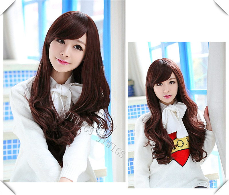 Natural Full Bang Heat Reisistant Fiber Women Long Wavy Wigs Cosplay Party Hair Halloween Gift(China (Mainland))