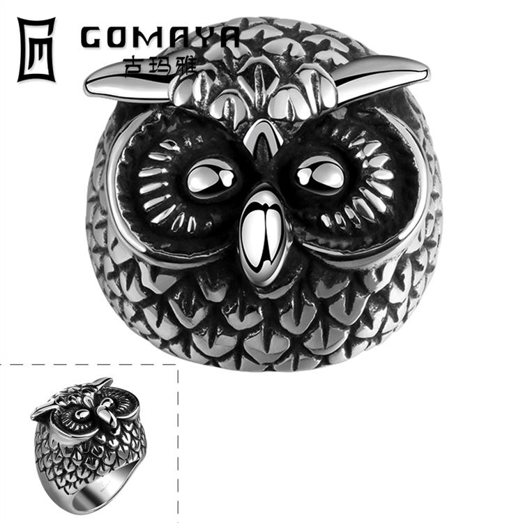 Punk 316L Stainless Steel Rings For Man Fashion Men Jewelry Vintage Owl Ring anel masculino anillos wholesales(China (Mainland))