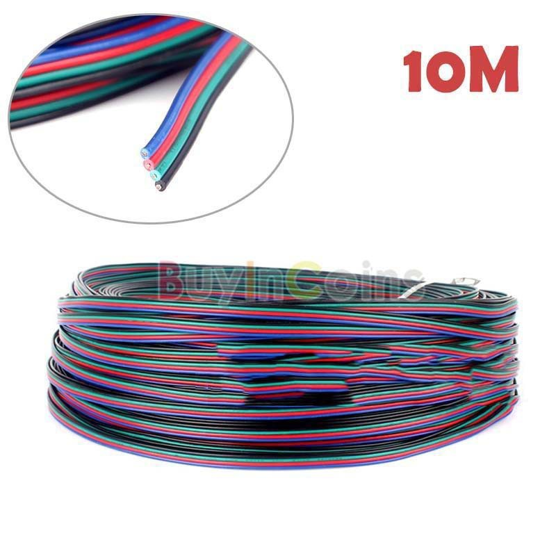Hitwise cheaper 10M Flexible Extension Cable 4-Pin Cord Wire for RGB 3528 5050 LED Strip Light Most popular(China (Mainland))