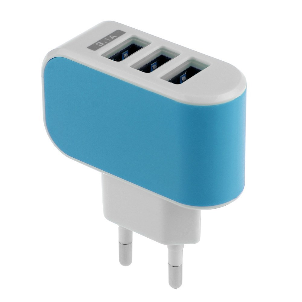 EU Plug For Smart Phones for Samsung Galaxy Phones 3.1A 3-Port Triple USB Wall Adapter Charger