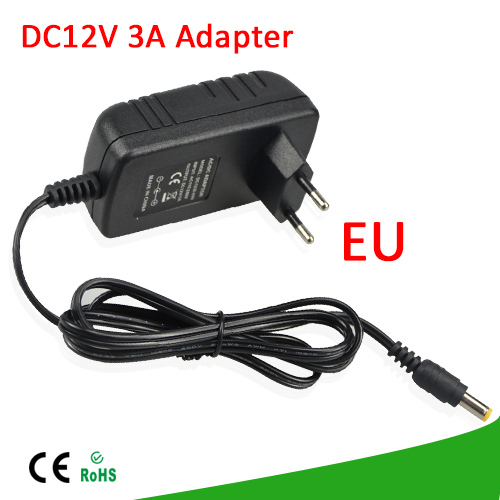 1Pcs 36W EU Plug DC 12V 3A Power Adapter Charger Converter Switching Power Supply lighting transformer For LED Strip CCTV Camera(China (Mainland))