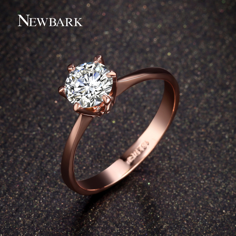 NEWBARK Forever Love Classic Wedding Band Rings 18K Rose Gold Plated 6 Prong Round Sparkling AAA CZ Diamond Rings Jewelry(China (Mainland))