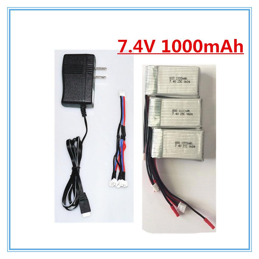 3pcs 7 4V 1000Mah Lipo Battery and charger plug For WLToys V262 V333 V353 V912 V915