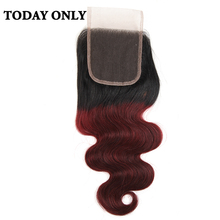 "Buy Today Non-remy Ombre Burgundy Brazilian Body Wave Human Hair Lace Closure 8"" 20"" Two Tone 1b/99j 4x4 Swiss Lace Closure for $34.82 in AliExpress store"