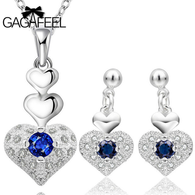 Women Jewelry Sets silver Gem Crystal Cz Zircon LOVE Heart Pendant Necklaces Drop Dangle Earrings GAGAFEEL - Gagafeel Factory Co., Ltd store
