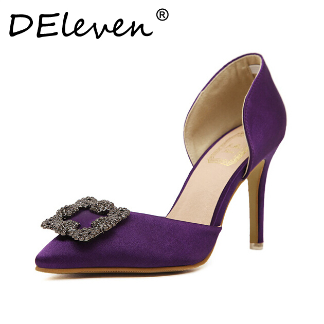 Silks and satins transpierce metal side buckle pointed toe shoes high-heeled shoes wedding shoes red blue purple