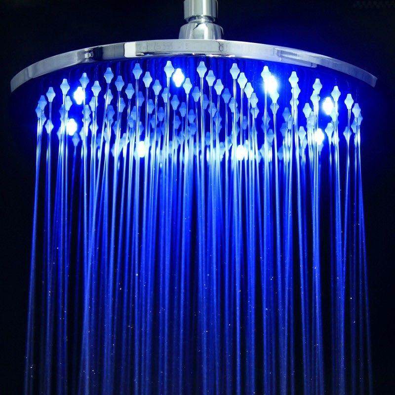 Modern Bathroom 10 Inch Round Brass LED Rain Shower Head Chrome -Free Shipping(China (Mainland))