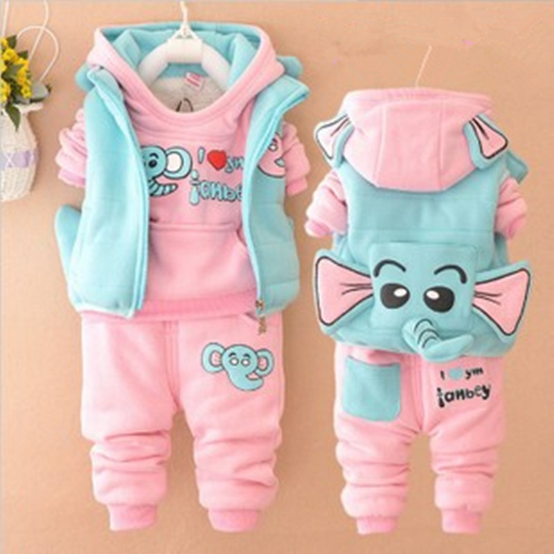 baby winter girl clothes Fall and winter clothes baby boy clothes infant children girls cotton sweater thick three-piece suit<br><br>Aliexpress