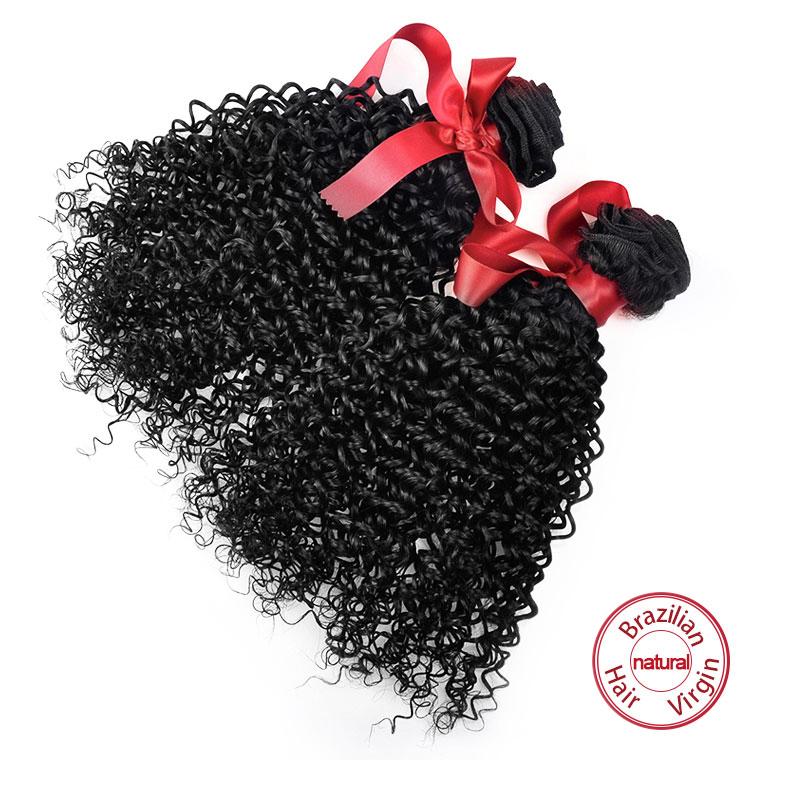 EVET Brazilian Curly Hair Weave 2 Bundles Virgin Hair Extensions Brazilian Human Hair Kinky Curly 6A Grade Remy Hair Bundles