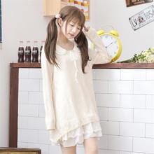 Mori Girl 2016 New Spring Women Dress Lace Peter Pan Collar Ruffles Long Sleeve Cute Loose Girl Spring Dress Cotton Kawaii Japan(China (Mainland))