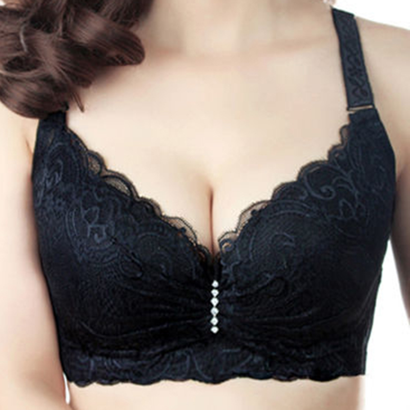 Hot 2016 New Sexy Ladies Big Size 3/4 Cup Lace Push Up Bra Women Black Bralette Deep V Bras Underwear Large Cup C D Plus Size Z1(China (Mainland))