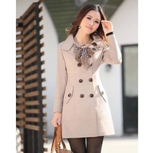 2015 spring fashion medium-long waist breasted solid color Womens Lady Double Breasted Long Jacket Scarf Coat Outwear(China (Mainland))