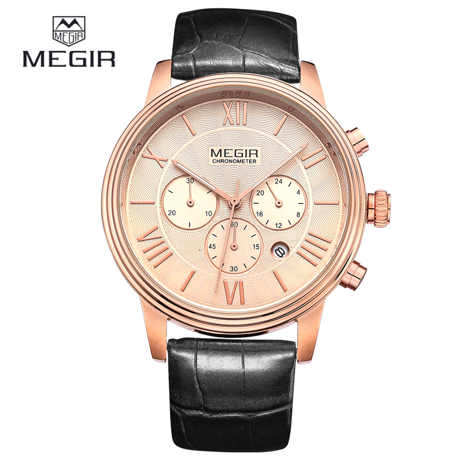 MEGIR Chronograph 24 Hours Black Leather Strap Gold Business Watch Quartz Luxury Sport Watch Men Brand Watch relogio masculino(China (Mainland))
