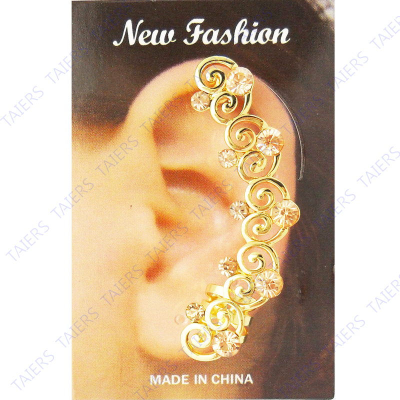 Left ear cuff Special Earring Heart post clip fashion jewelry Wholesale plug piercing Free shipping 10 pieces lot TAIERS(China (Mainland))