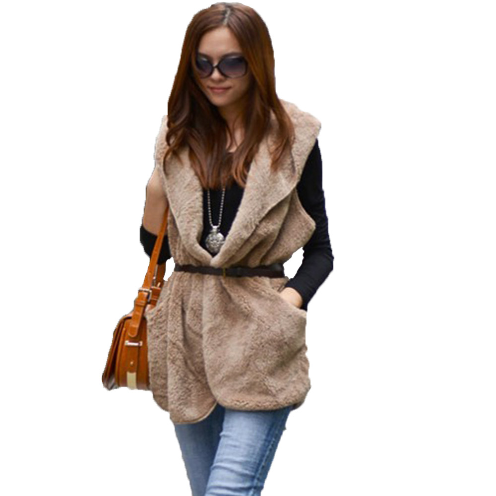 2014 Free Size Women Slim Winter Vest Female Vests Coat Sleeveless Jacket Waistcoat Casual Hooded Vest Free Shipping