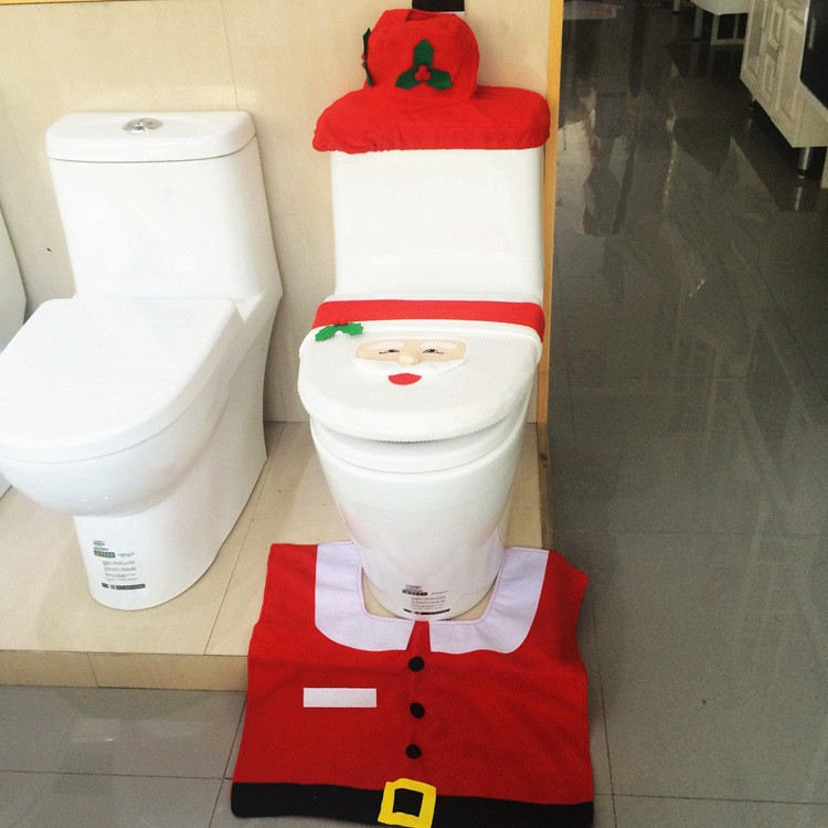 Santa Toilet Seat Cover Rug Bathroom Set Christmas Decoration Shop 7