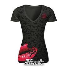 Buy Summer T-Shirt Skull Print Causal Women Short Sleeve V-Neck Punk Style Tee Tops Fashion T Shirt Plus Size Women S-5XL LJ8593C for $6.96 in AliExpress store