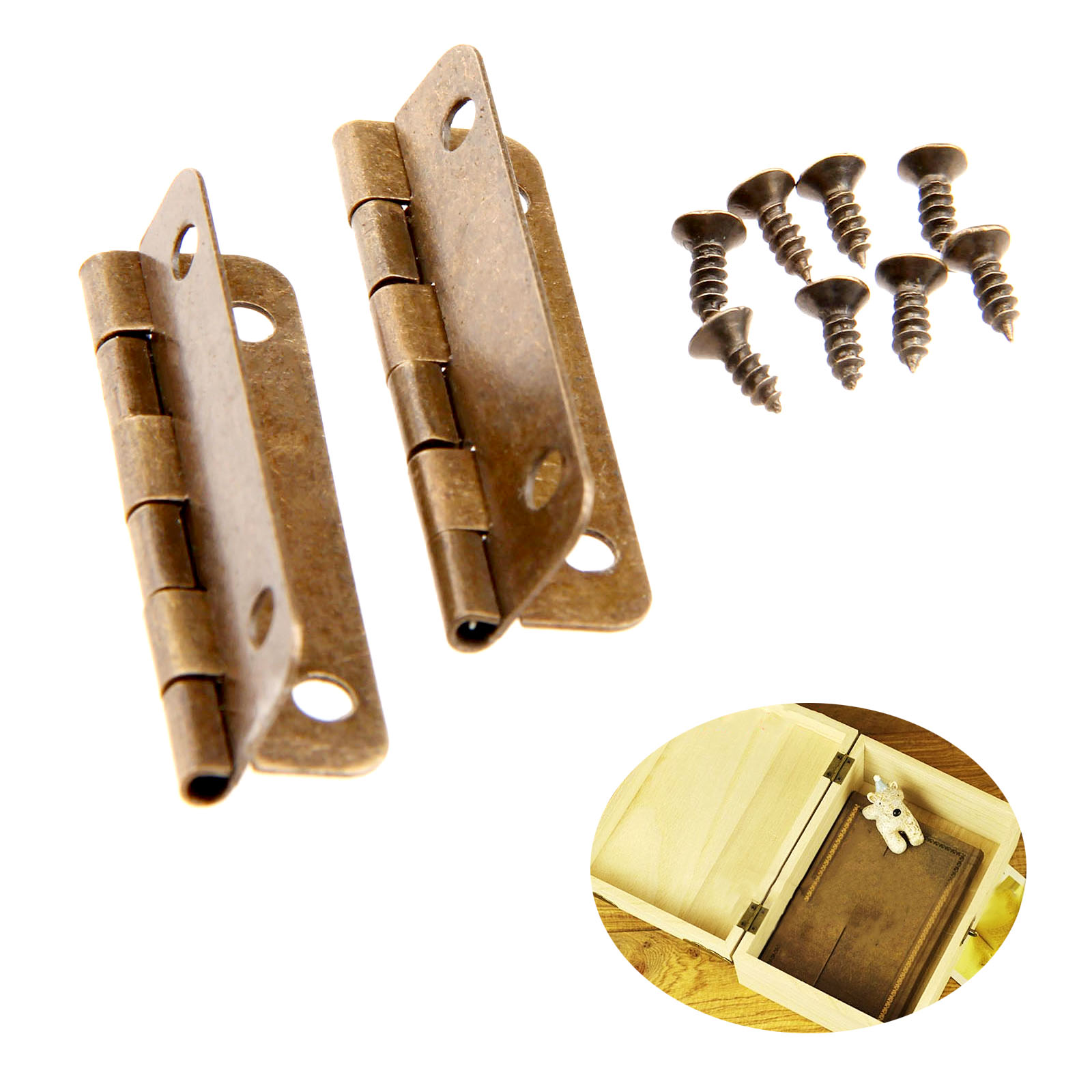 2Pcs Antique Bronze Cabinet Hinges Furniture Accessories Drawer Hinges for Jewelry Boxes Furniture Fittings for Cabinet 38x19mm(China (Mainland))