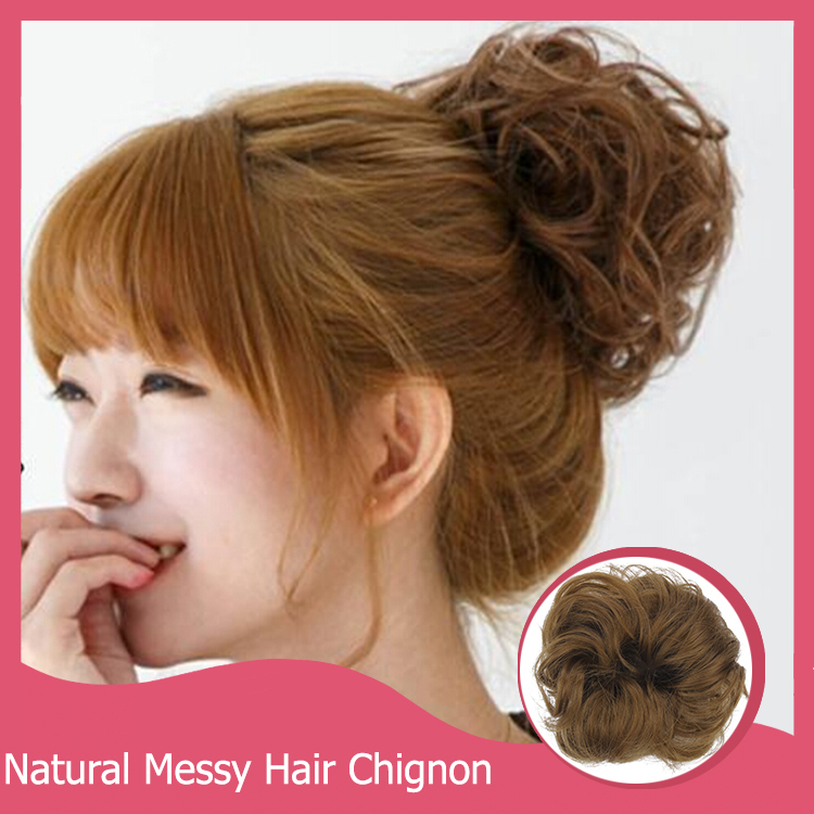 1PC Messy Hair Chignon Elastic Hair Rope Synthetic Hair Bun Extension Curly Wavy Scrunchee Hairpiece Donunt Buns Chignons(China (Mainland))