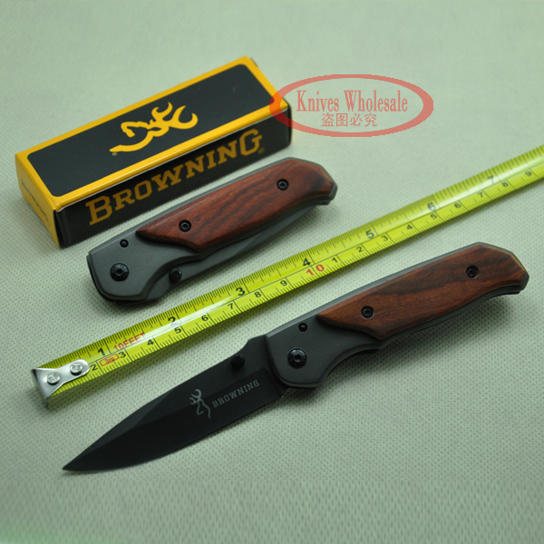 Browning DA29 Camping Survival Folding 440 57HRC Blade Wood Handle Gift hunting knife Utillity Outdoor Tools