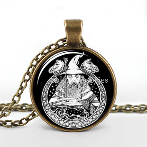 10pcs/lot Fashion Glass Cabochon art gift Wizard Pendant Black And White Charm With Necklace jewelry(China (Mainland))