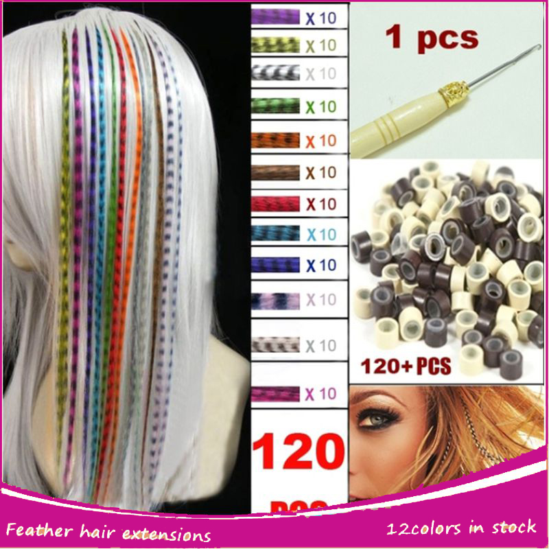 120pcs Feather Hair Extensions With Beads Hook Long Wholesale Loop Grizzly Solid Zebra Lines Wholesale I Tip Hair Extension