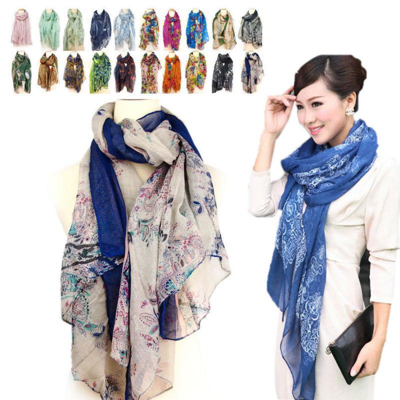 Fashion Women's Chiffon Scarf Shawl Girl Soft Wrap Shawl Long Voile Stole Style(China (Mainland))