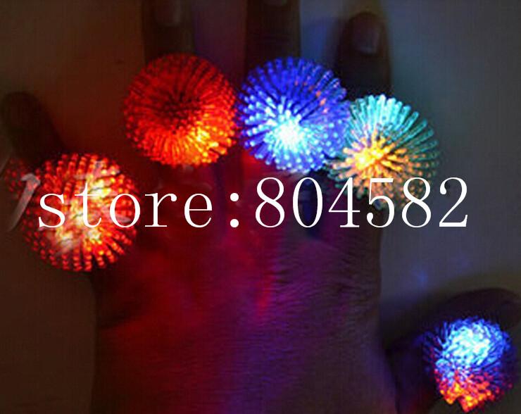 LED finger ring flashing novelty party glowing dark light up toys mix colors soft finger lights 18pcs/lot T2(China (Mainland))