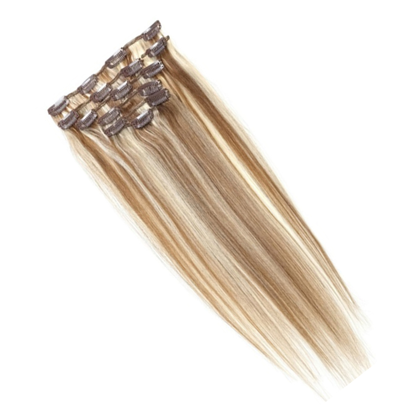 Best Sale Women Human Hair Clip In Hair Extensions 7pcs 70g 20inch Brown + Gold-brown