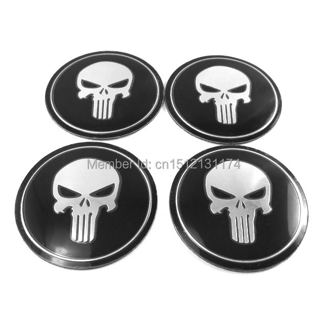 4 Pcs Wheel Center Hub Caps Punisher Logo Metal Emblem Decal Sticker 90mm For VW Jetta Golf MK4 New Bettle Passat B5(China (Mainland))