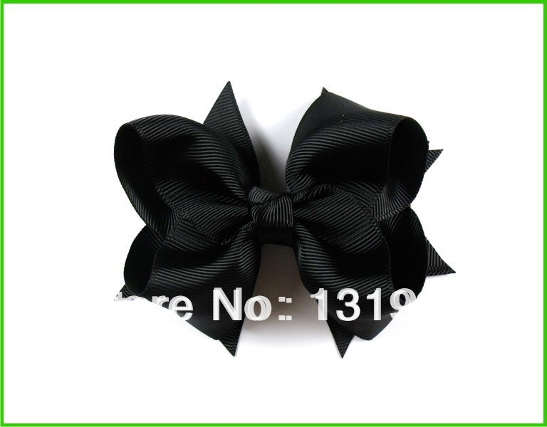 "12pcs 4"" Baby Girl women Toddlers Grosgrain Ribbon for Hair bows boutique Flower clips love design accessories Black aertae(China (Mainland))"