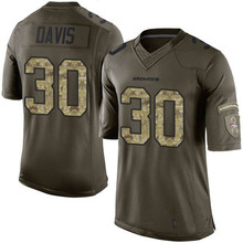 Men's #30 Terrell Davis Elite Green Salute to Service jersey %100 Stitched(China (Mainland))
